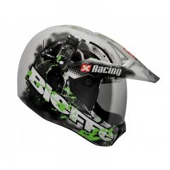 Capacete Cross 3 Sport Xracing Bc/verde 60